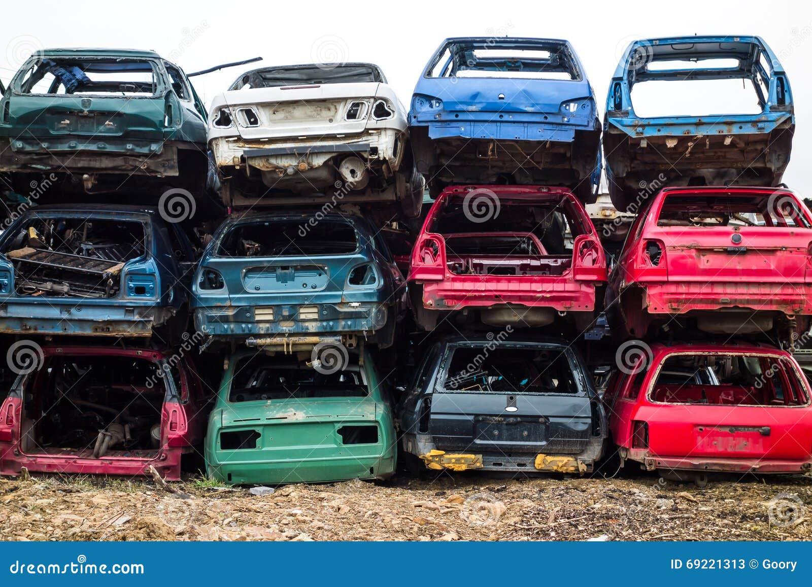 Cars at junkyard stock image. Image of junk, dump, piled - 69221313