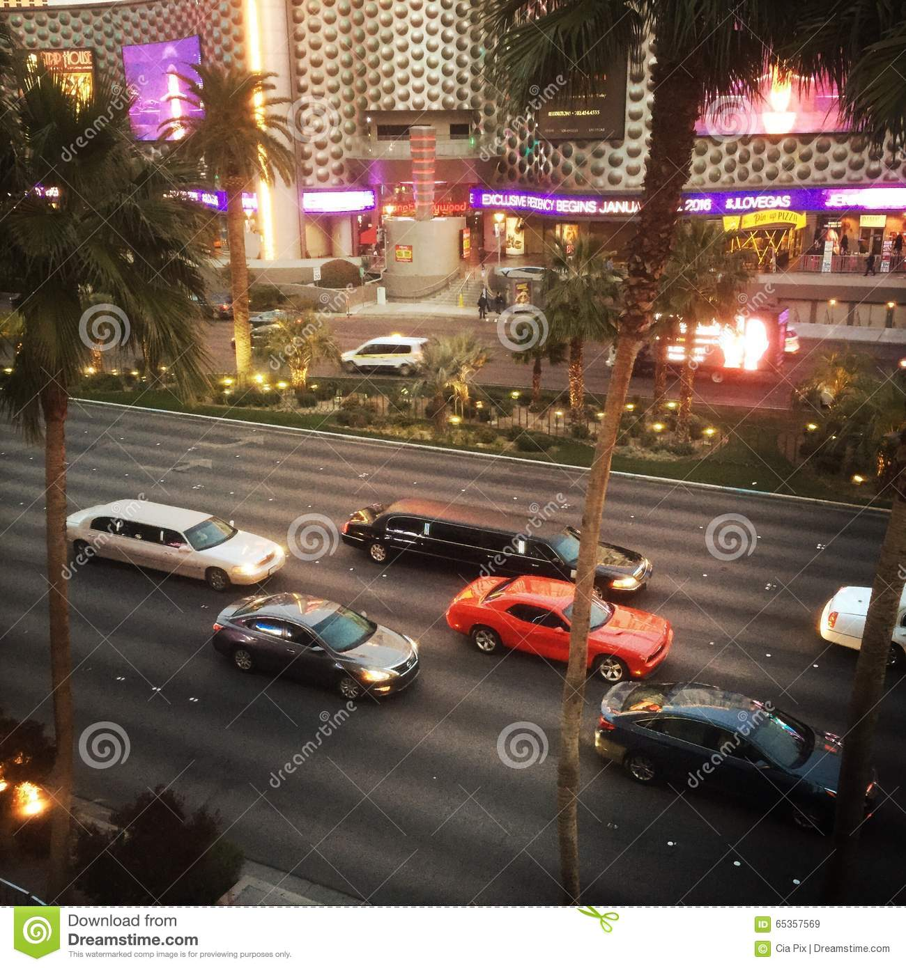 Cars On Las Vegas Strip, Nevada Editorial Stock Image