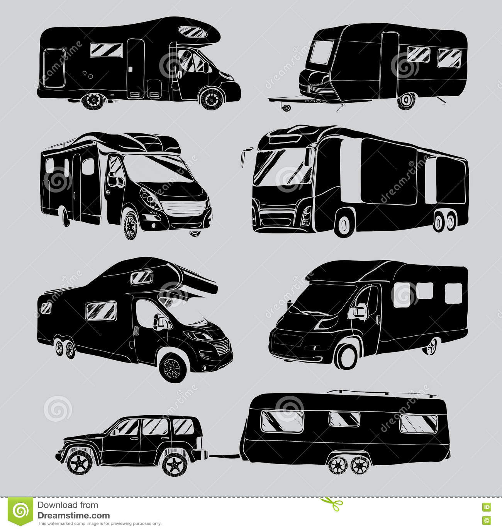 Recreational Vehicle: Cars Recreational Vehicles Camper Vans Caravans Icons