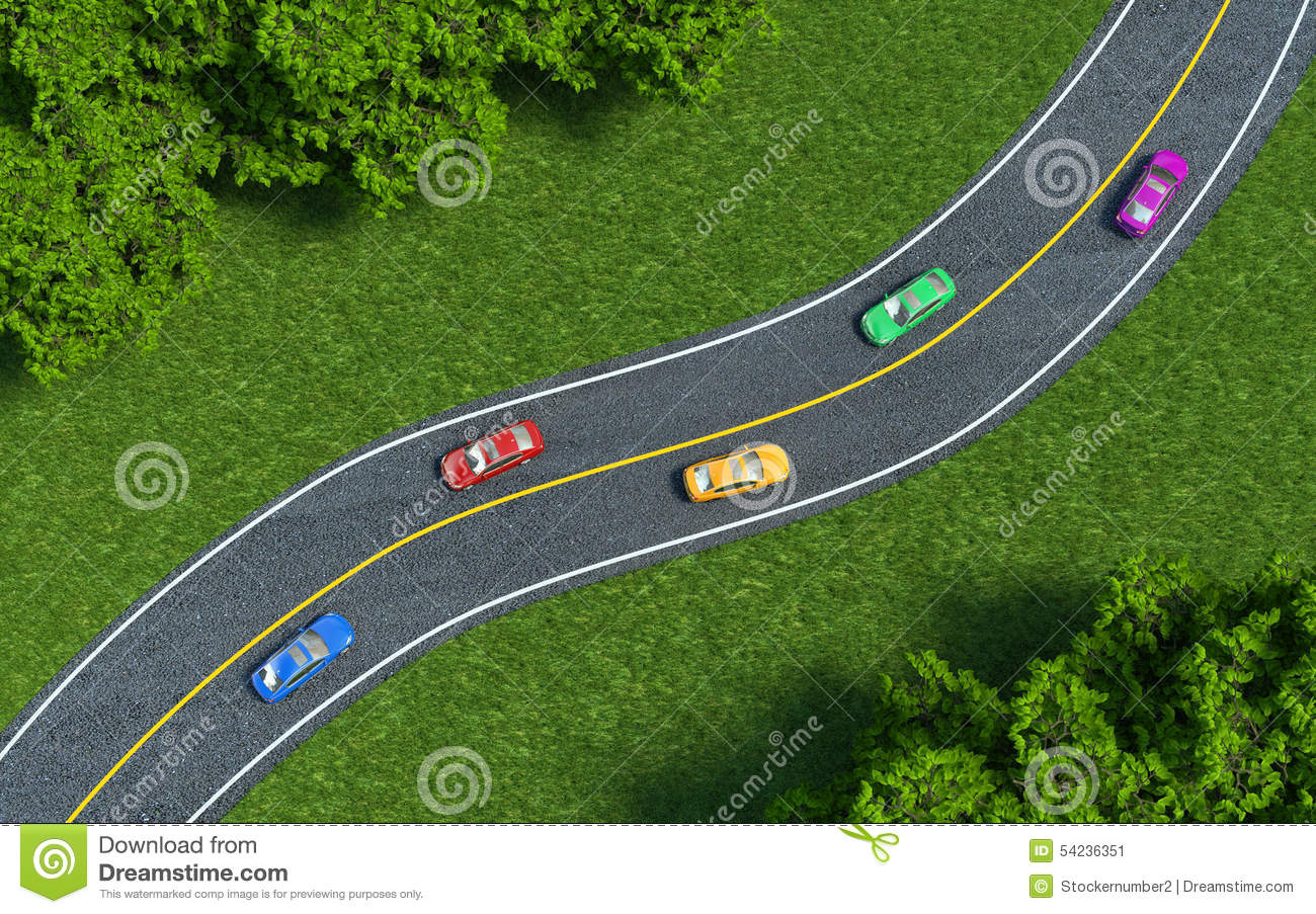 Best Car On The Road : Cars on the road view from top stock illustration