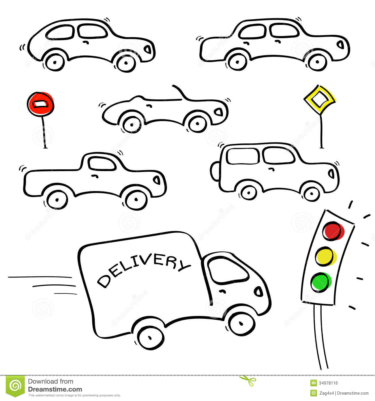 Abstract sketch cartoon cars set with traffic light on white ...