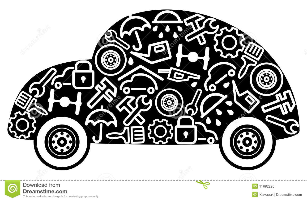 Cars And Spare Parts Stock Vector Illustration Of Service 11682220