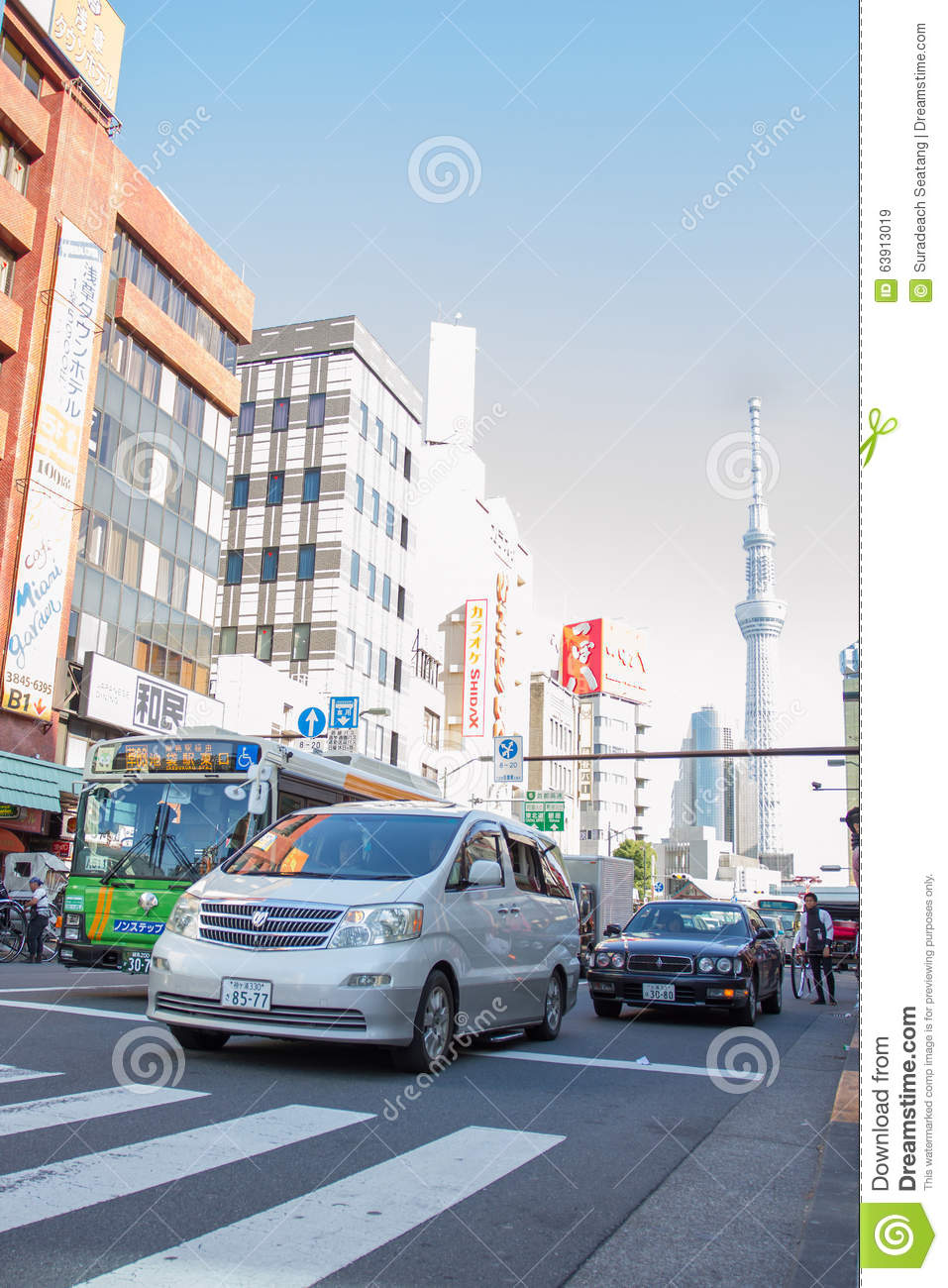 Cars On A Street In Asakusa, Taito, Tokyo Japan Editorial Stock Image - Image...
