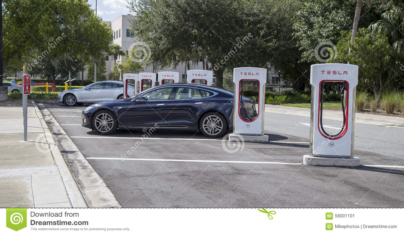 cars at tesla charging stations stock photo image 56001101. Black Bedroom Furniture Sets. Home Design Ideas