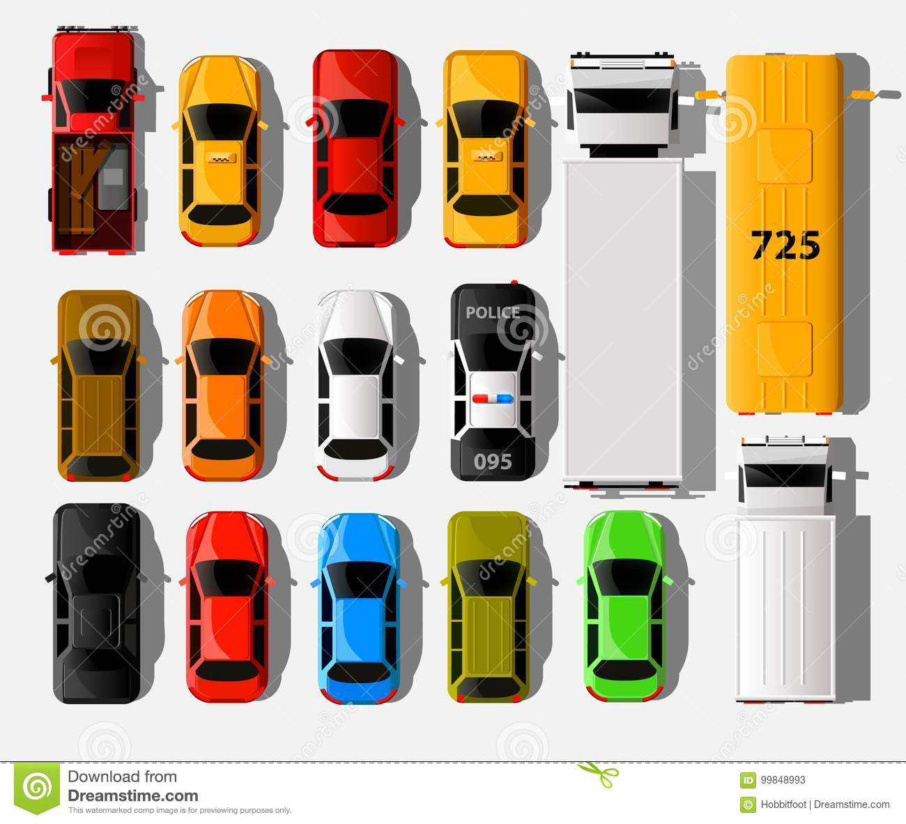 Cars Top View City Vehicle Transport Icons Set Automobile Car For