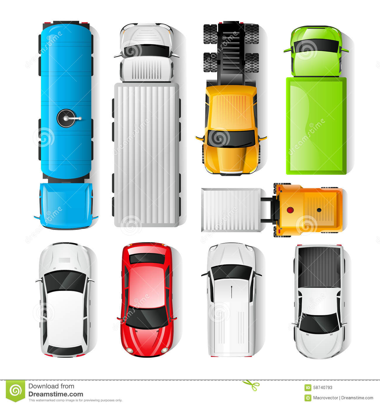 Cars Top View Stock Vector Image 58740793