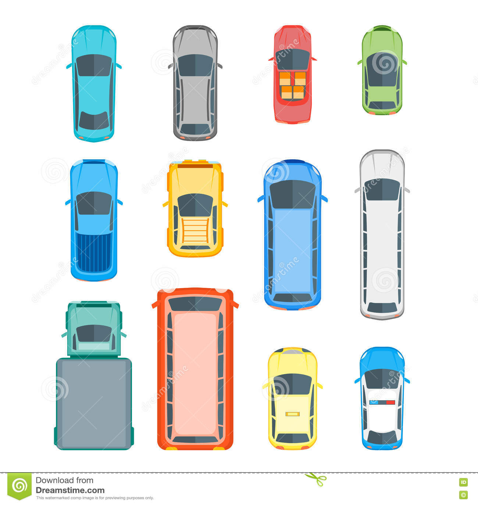 Car top view vector set cartoon vector cartoondealer for Top view design