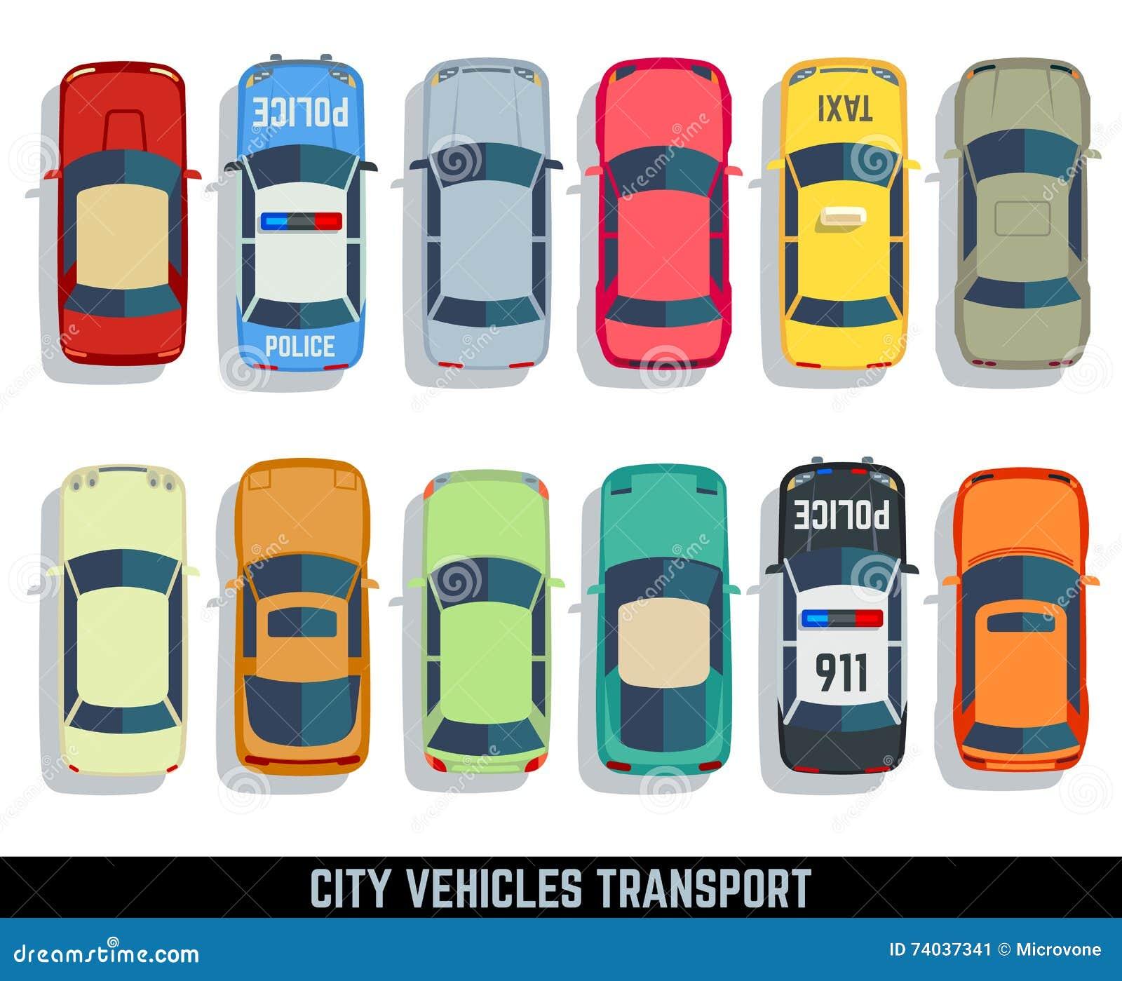 Car Top View Vector Set. Cartoon Vector   CartoonDealer ...
