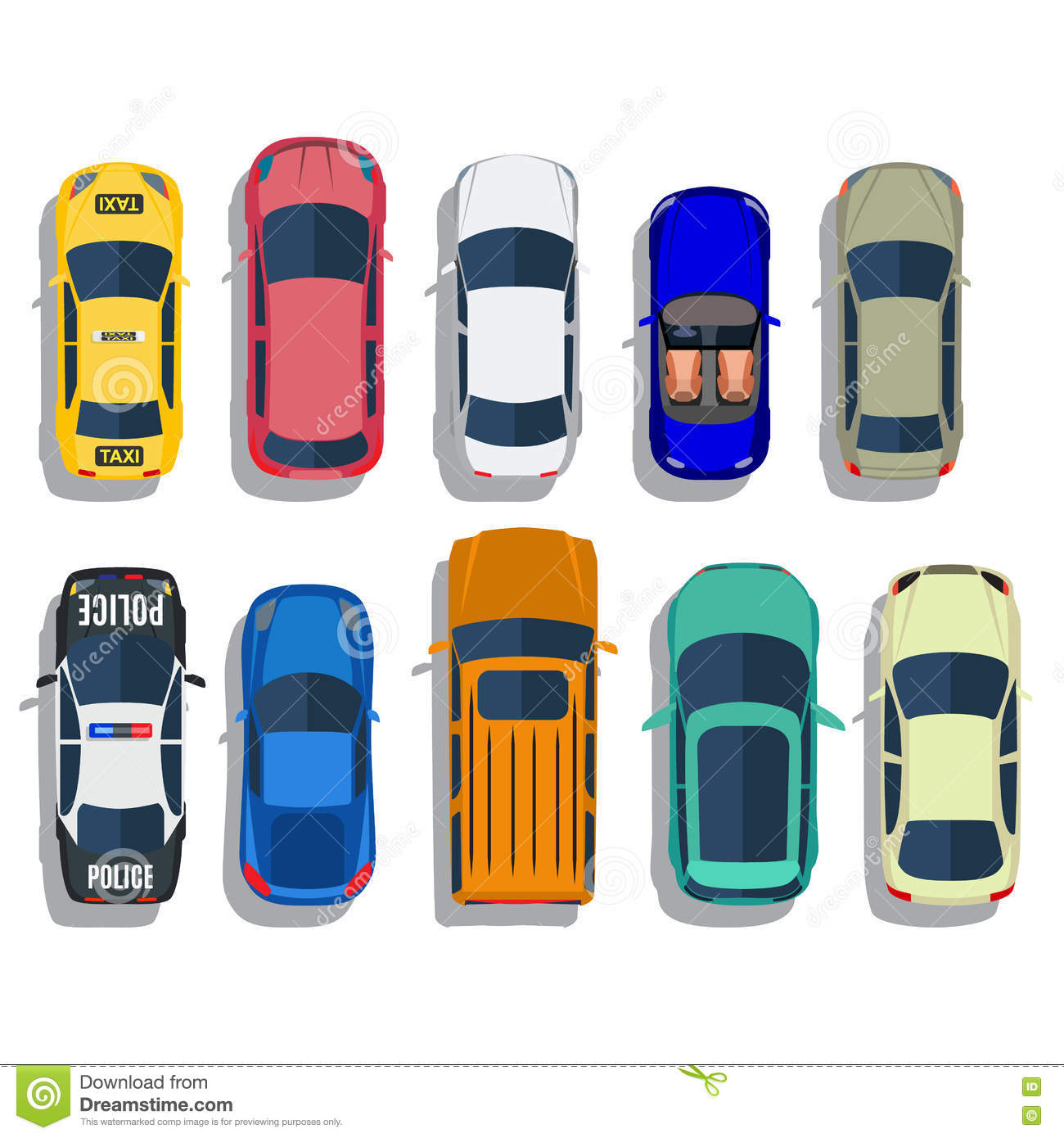 Cars Top View Vector Stock Vector. Illustration Of Sport