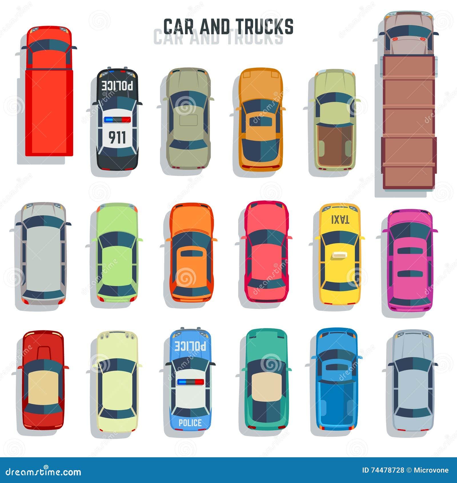 Car Top View Vector Set. Cartoon Vector
