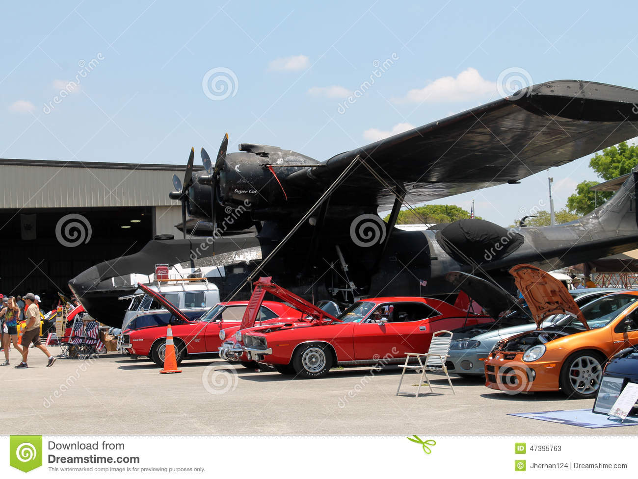 Cars Under Airplane Wing Editorial Stock Photo Image