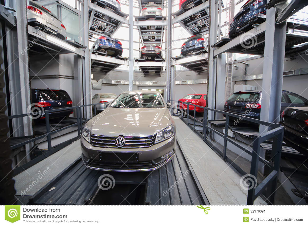 cars volkswagen in the tower for storage editorial photo image 32976091. Black Bedroom Furniture Sets. Home Design Ideas