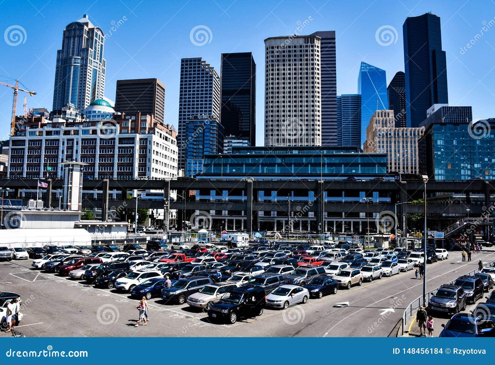 Parking In Seattle, Washington, USA Stock Photo - Image of city