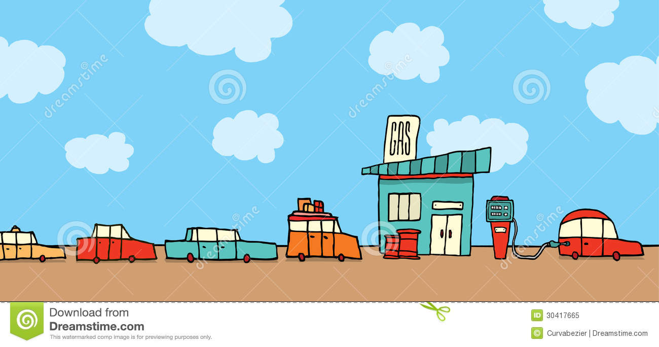 Power Tools Cartoon Cars Waiting In Line A...