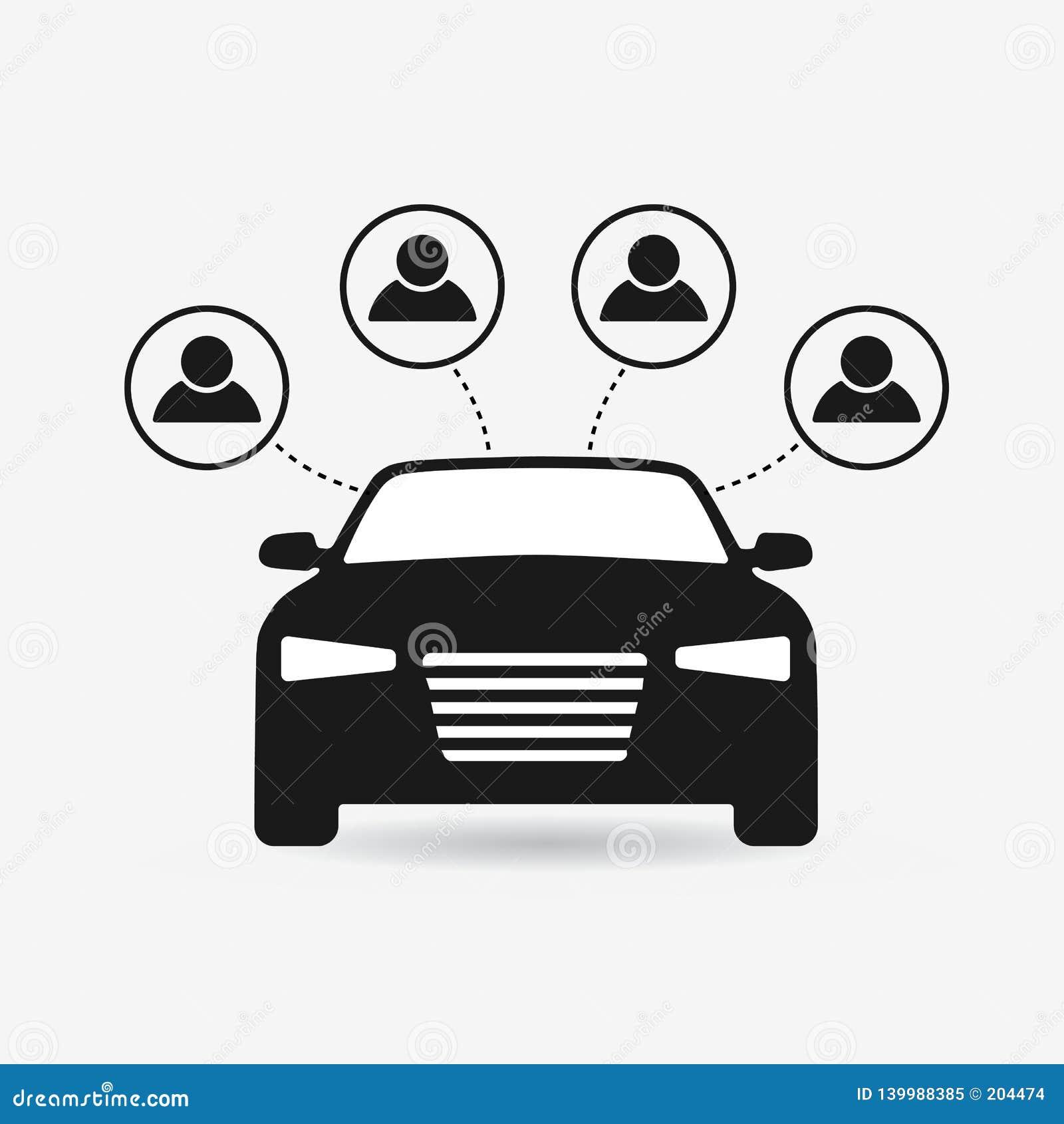 Car Sharing Icon Carsharing Symbol Flat Concept Stock Vector