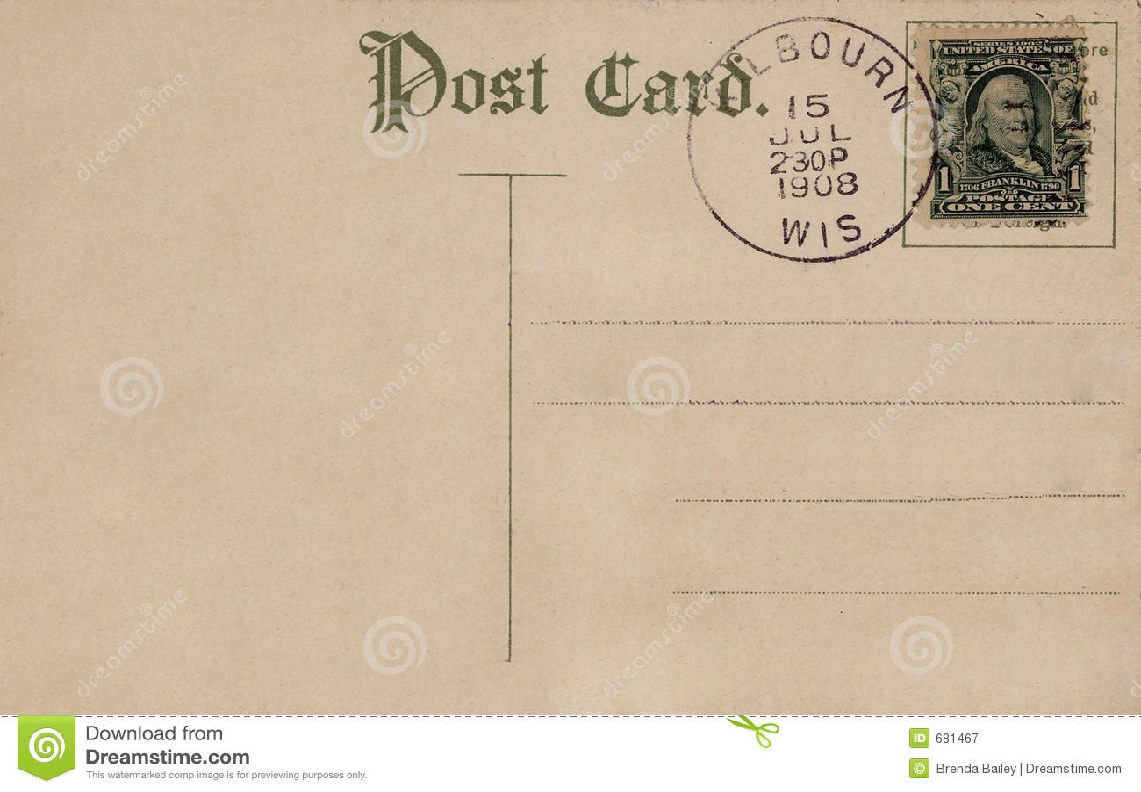 Cartão 1908 do vintage