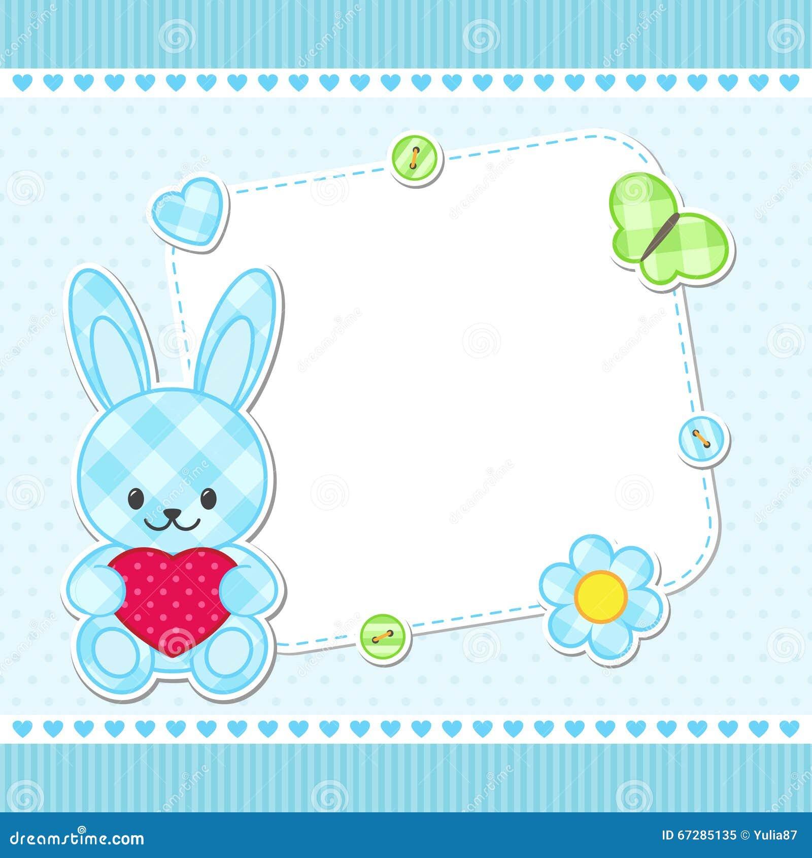Cartão azul do coelho