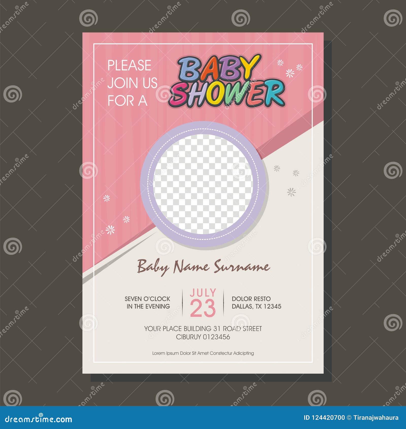 Cartão bonito do convite da festa do bebê com estilo dos desenhos animados