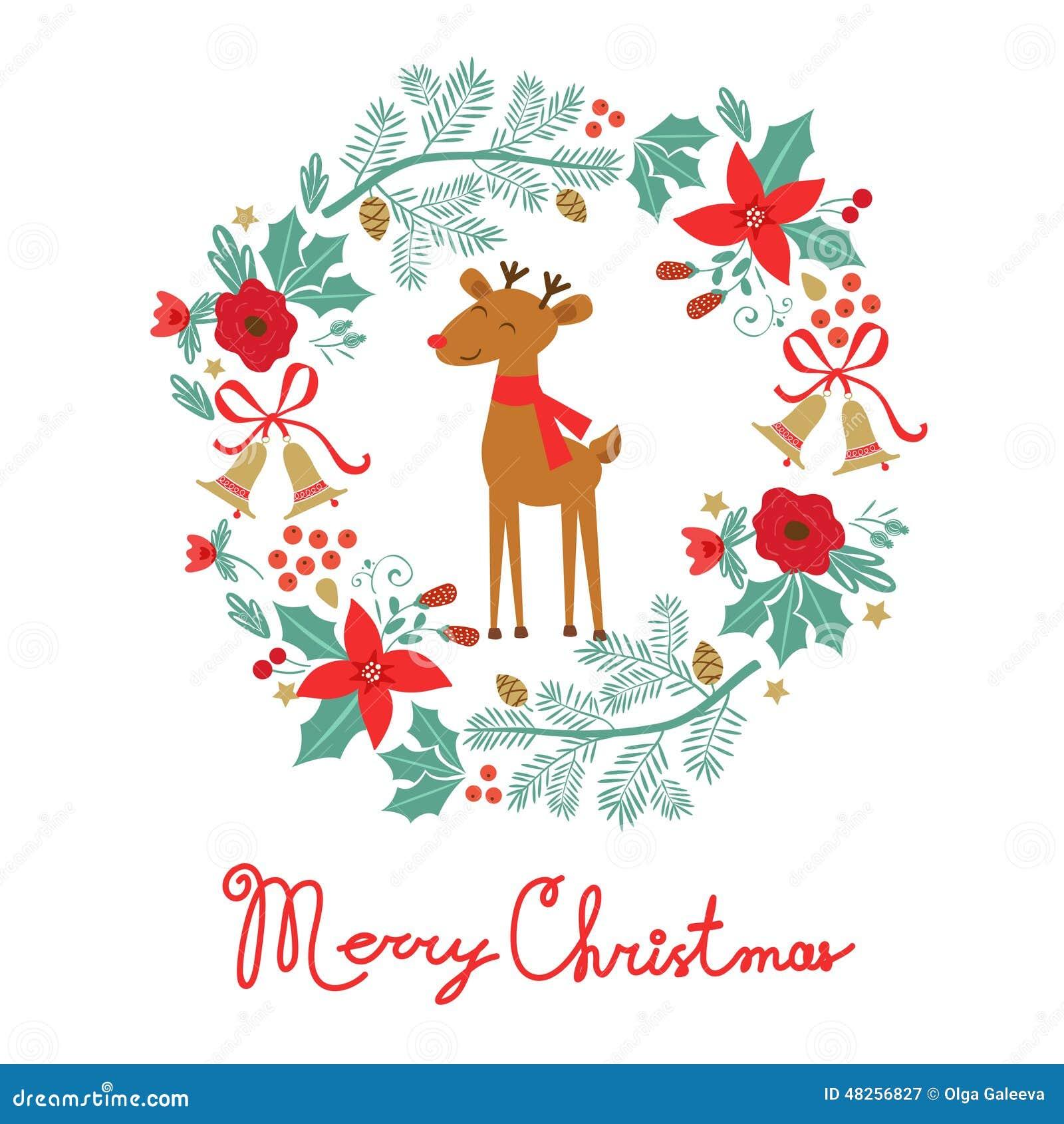Cartao Colorido Do Feliz Natal Ilustracao Do Vetor Ilustracao De