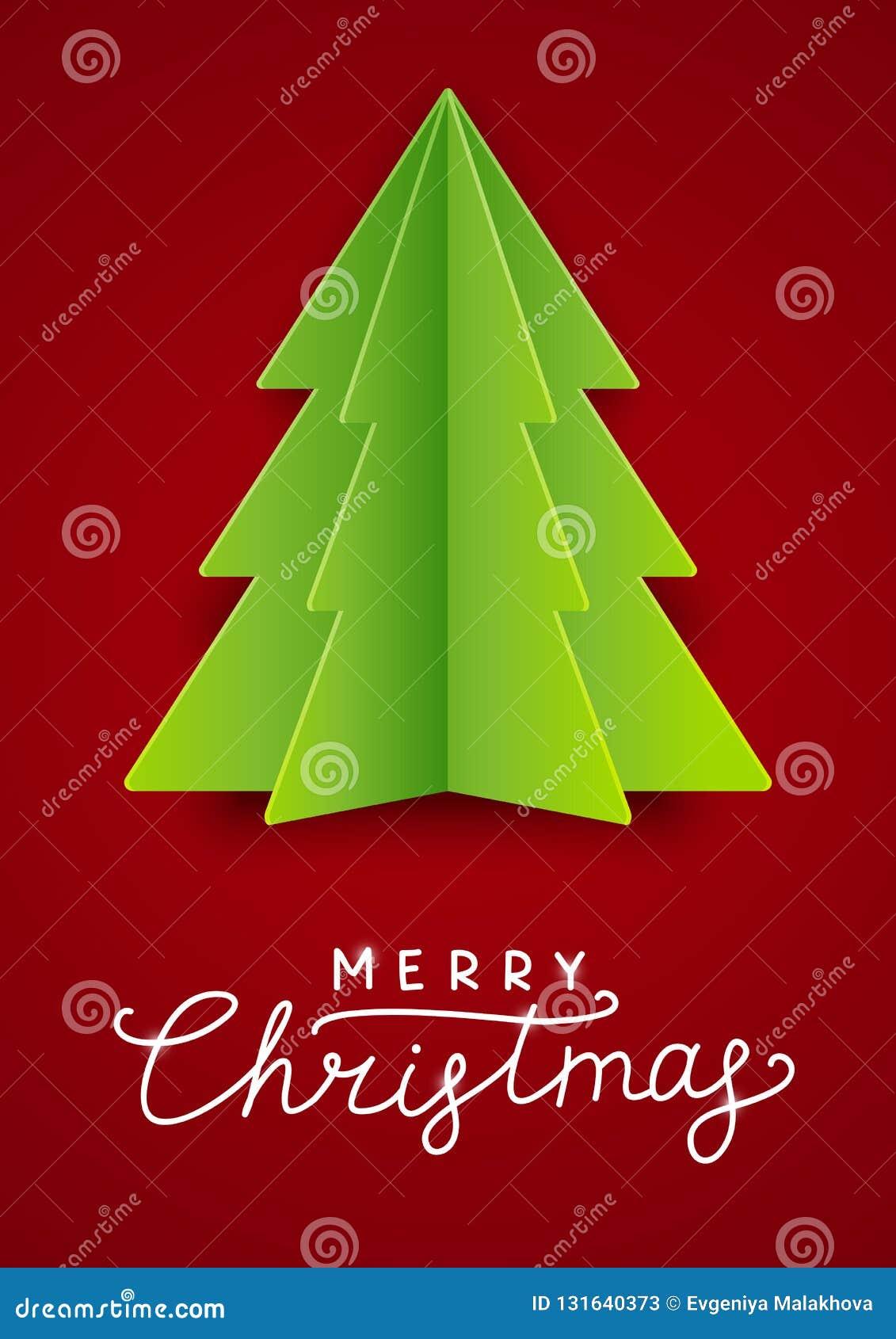 Cartão com a árvore de Natal de papel