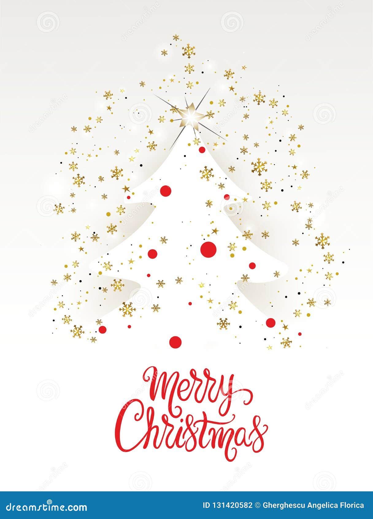 Cartão com flocos de neve dourados - vetor da árvore de Natal