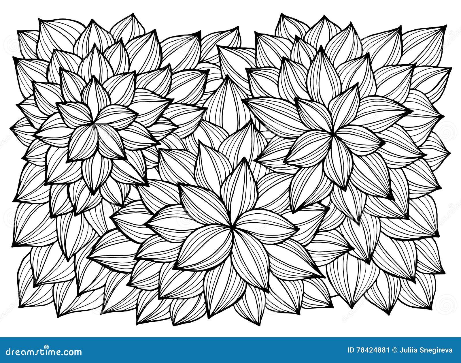 Cartao Com Flores Abstratas Pagina Para O Livro Para Colorir
