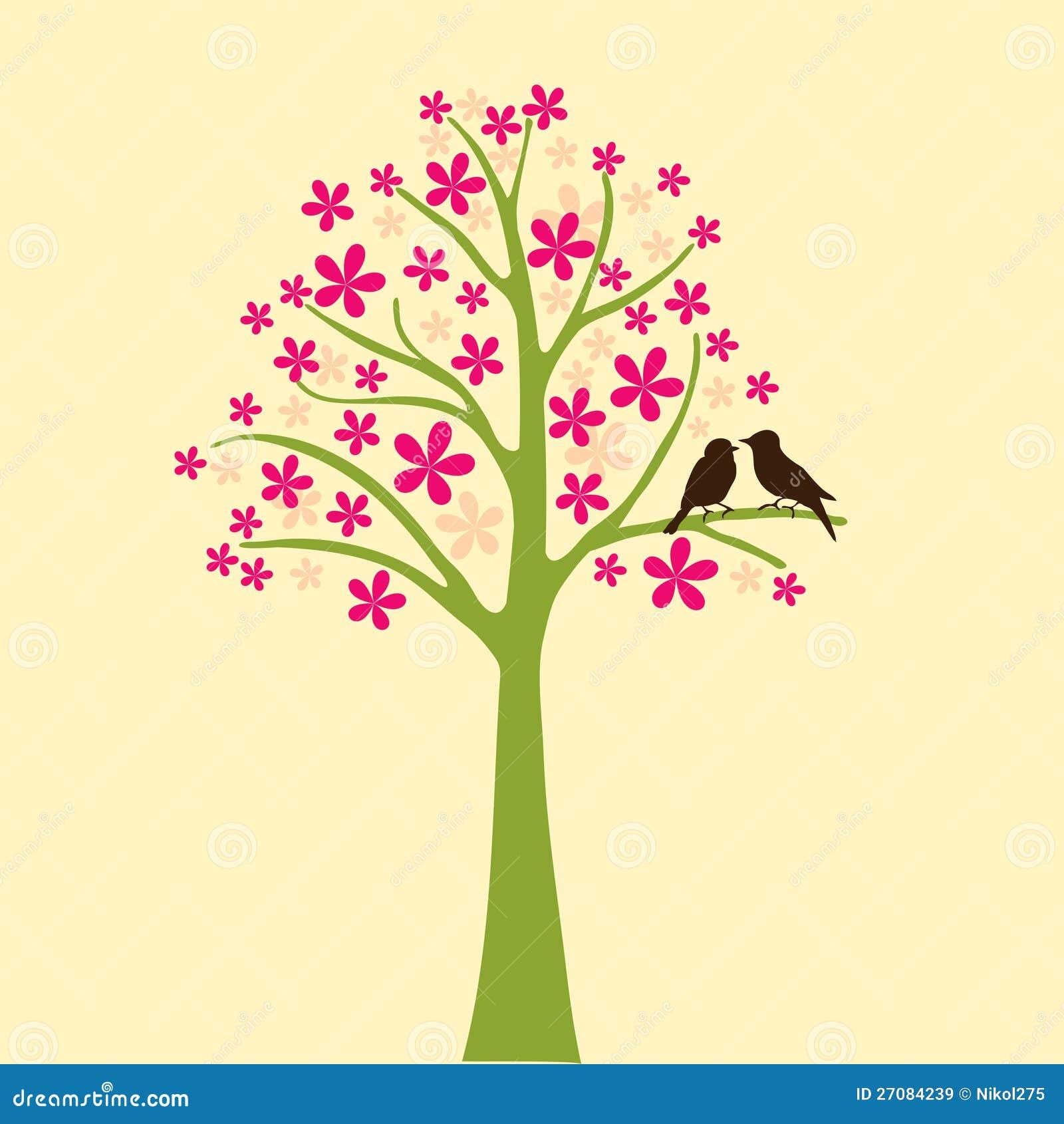 Cartão com o pássaro floral da árvore e do amor