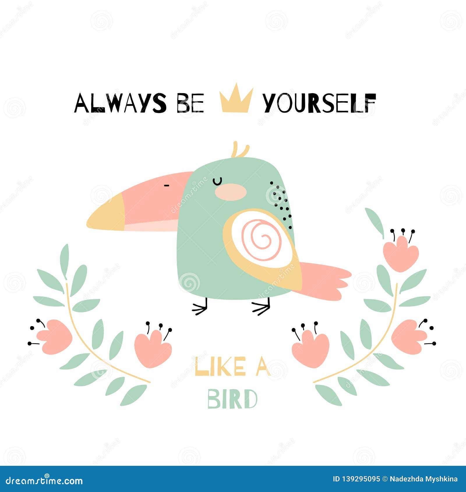 Cartão Com Tucano Da Garatuja E Frase Da Motivação