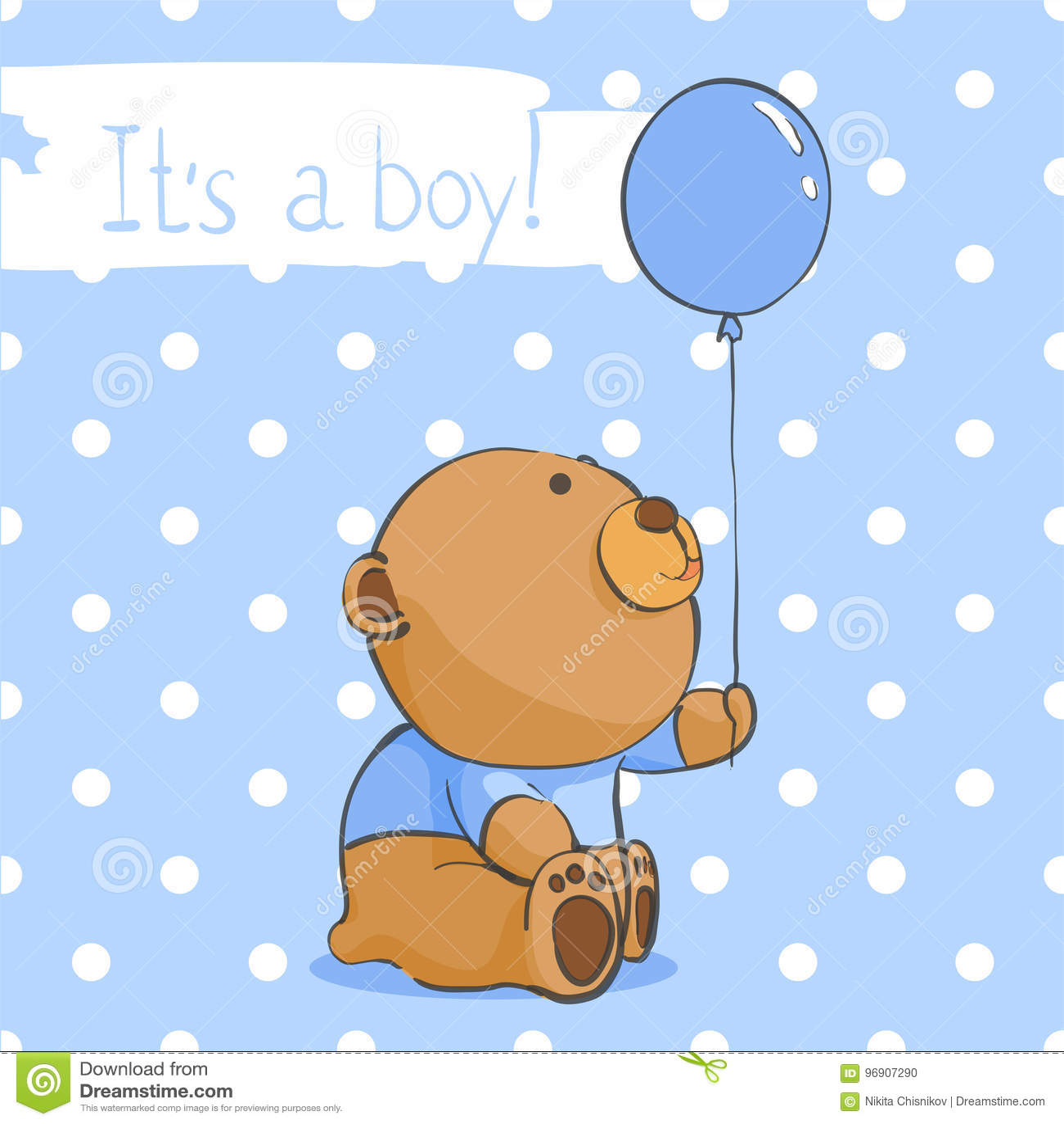 Cartao Com Um Urso Engracado Para Um Menino Ilustracao Do Vetor