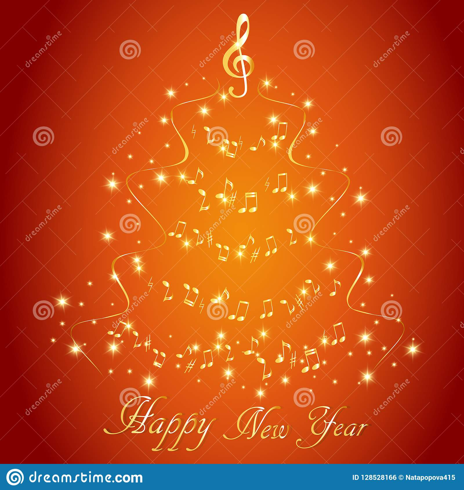Cartão com uma árvore de Natal musical abstrata, com notas e clave de sol