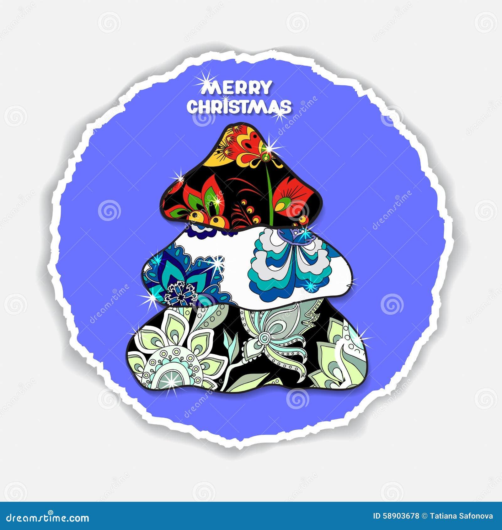 Cartão conservado em estoque do Natal com árvore do remendo