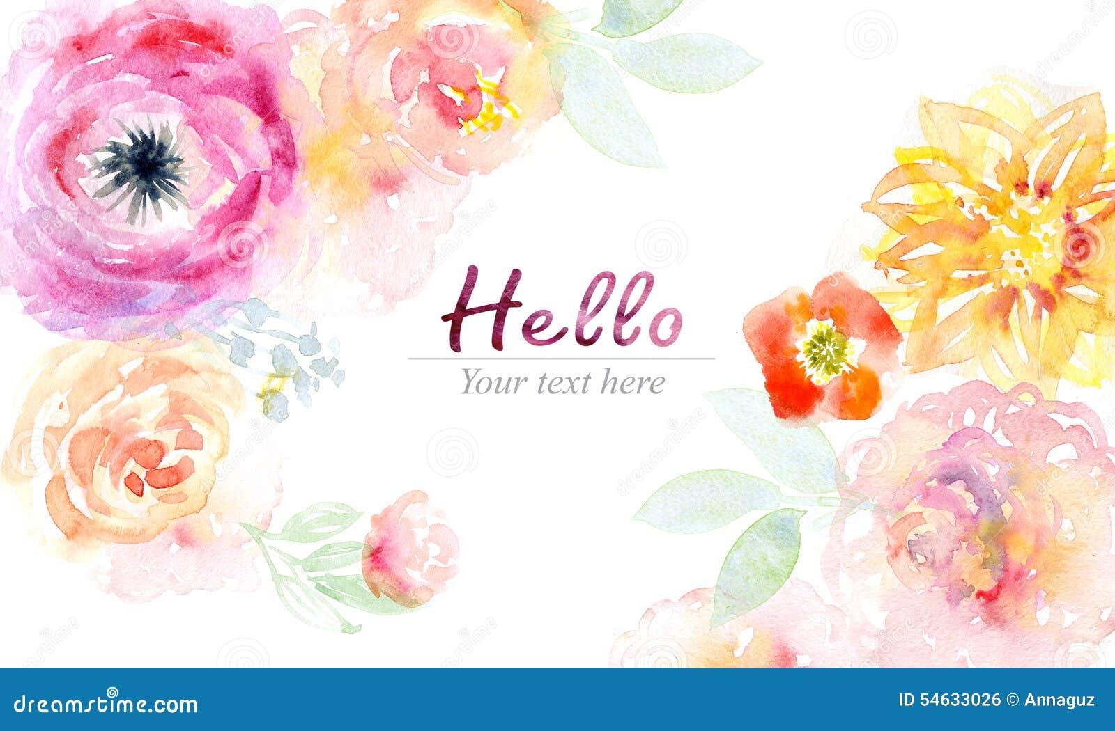 Cartão da aquarela com flores bonitas