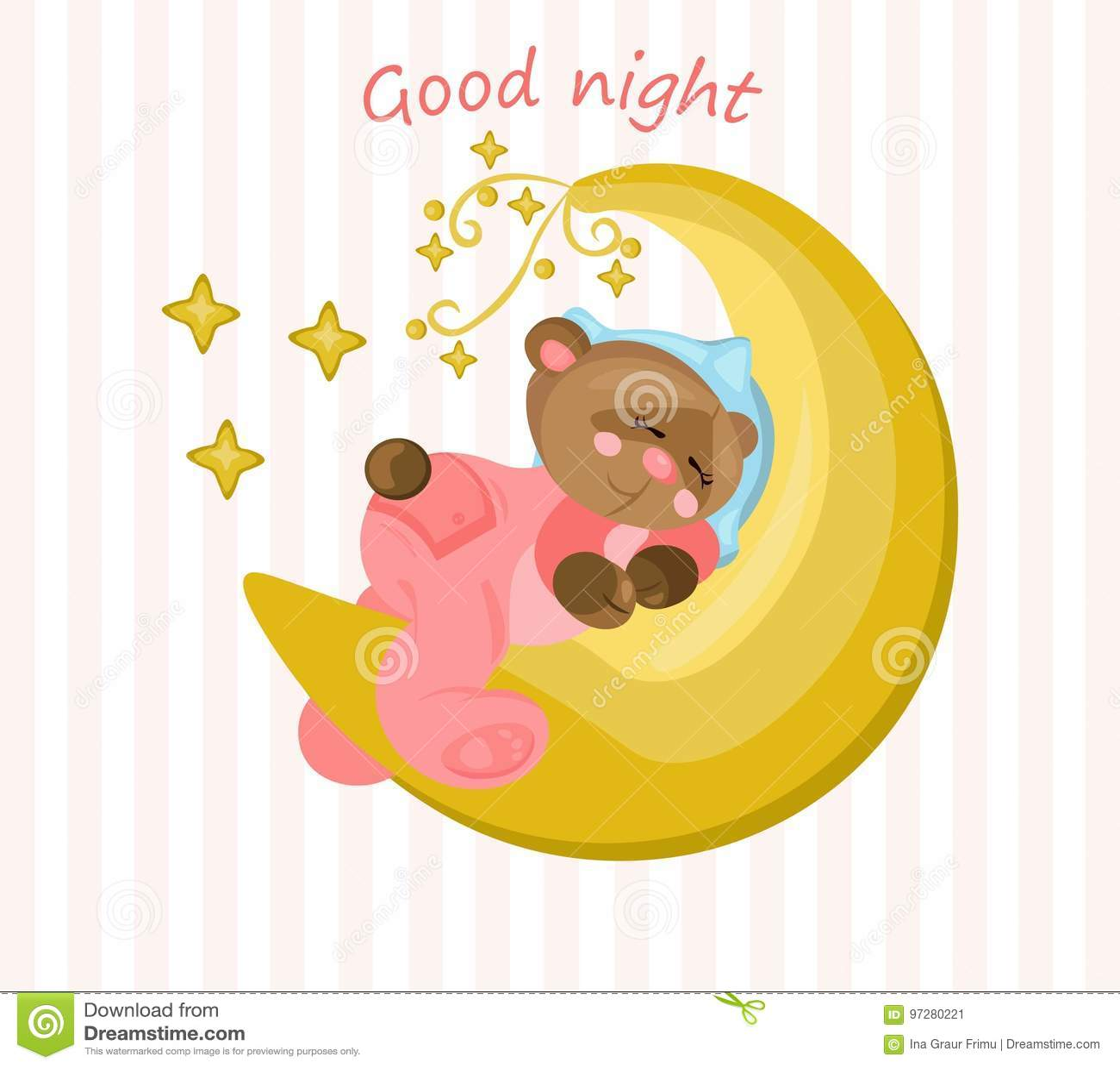 Cartão da boa noite com o urso de peluche que dorme no vetor da lua