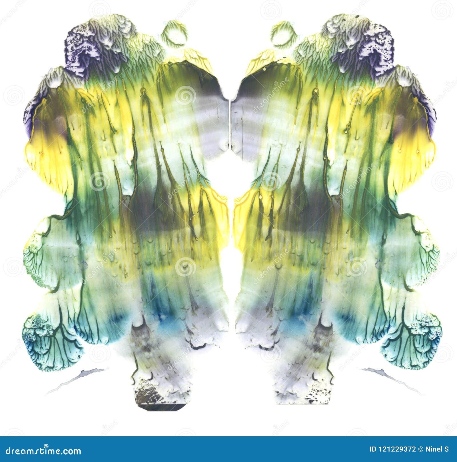 Cartão da pintura simétrica da aquarela do sumário da multa do teste da mancha de tinta do rorschach Pintura amarela, verde, azul