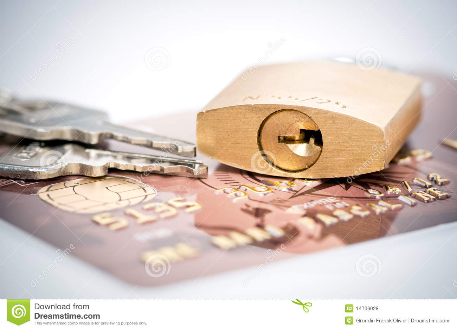 Cartão das chaves e de crédito do cadeado