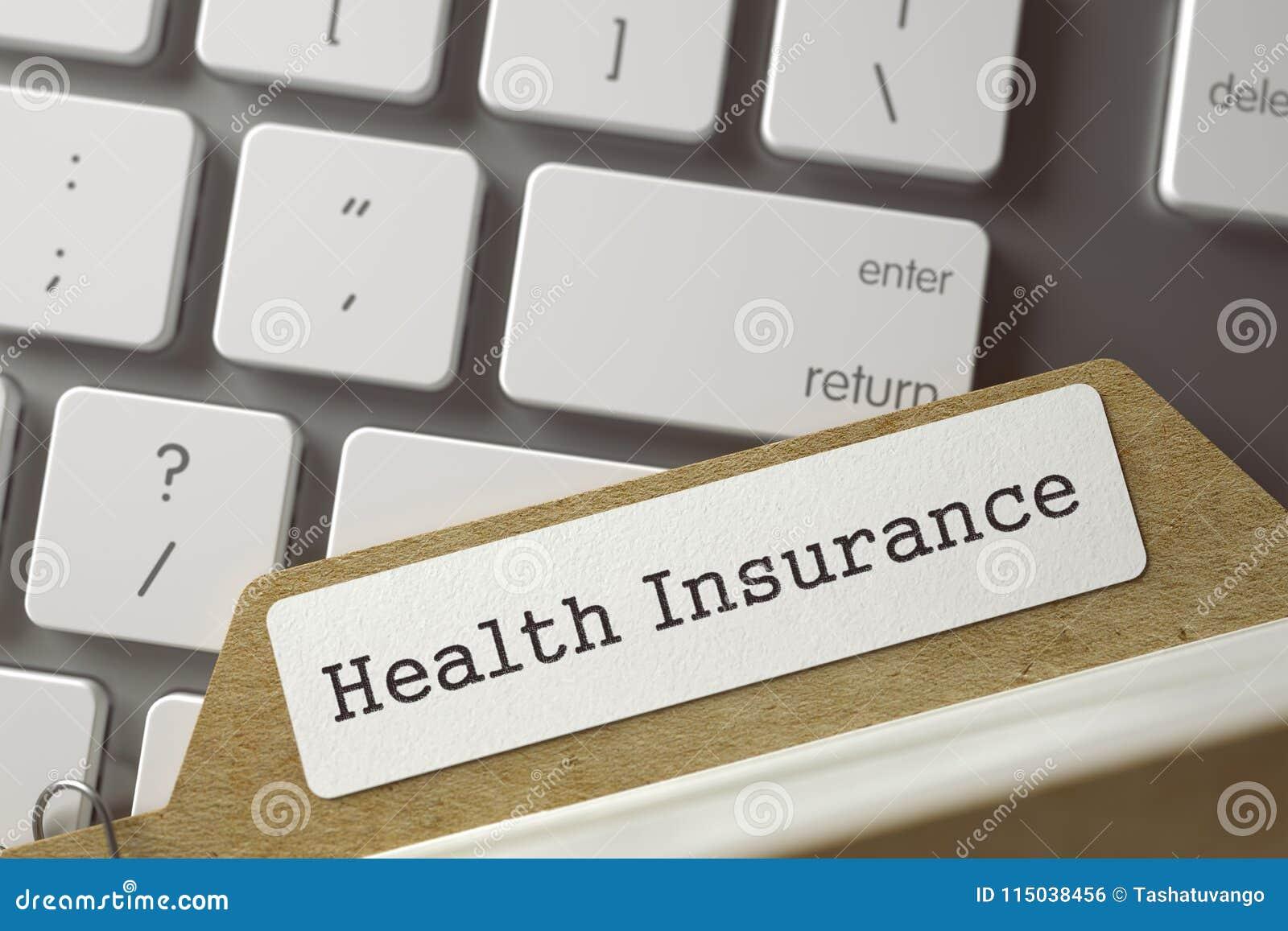 Cartão de índice do tipo com seguro de saúde da inscrição 3d