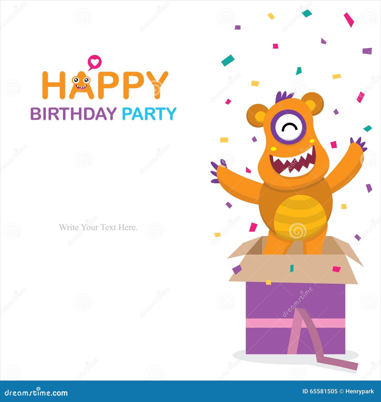 Cartão de aniversário bonito do monstro