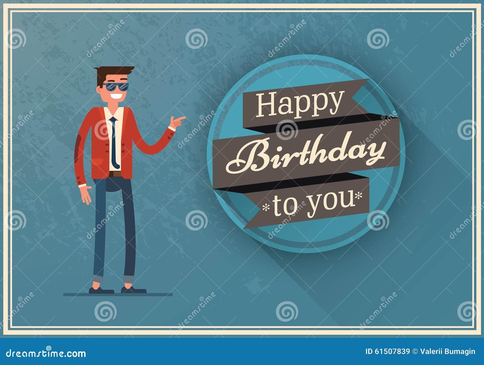 Cartão De Aniversário Com Um Homem Feliz Ilustração Do Vetor