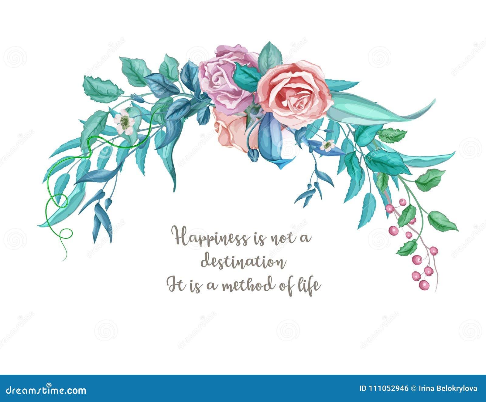 Cartão de casamento cor-de-rosa da flor do vintage da aquarela do vetor