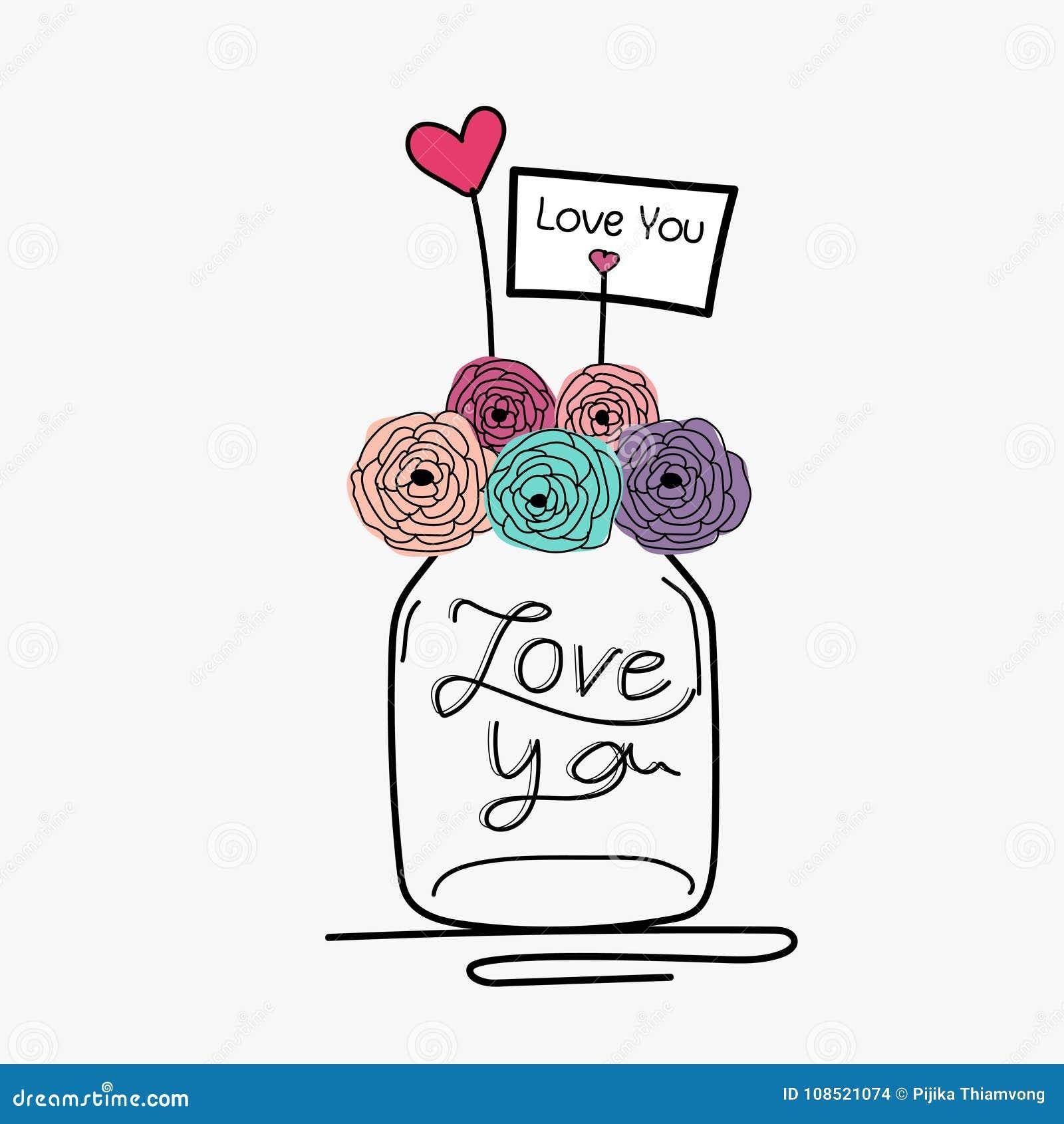 Cartão de casamento da tração da mão com flor Mason Jar