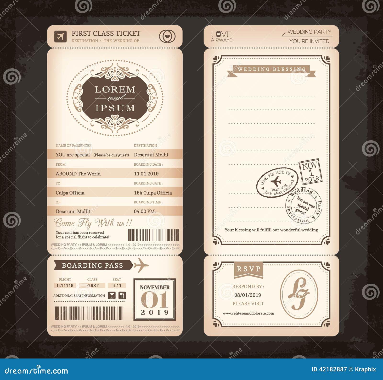 Cartão de casamento velho do bilhete da passagem de embarque do estilo do vintage