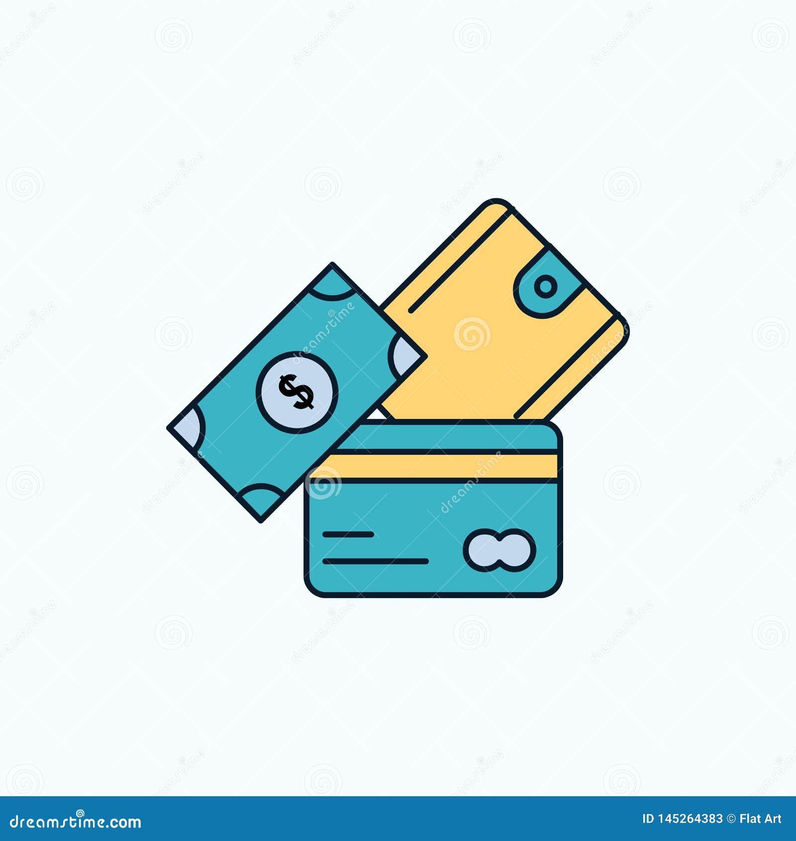 Cartão de crédito, dinheiro, moeda, dólar, ícone liso da carteira sinal e s?mbolos verdes e amarelos para o Web site e o appliati