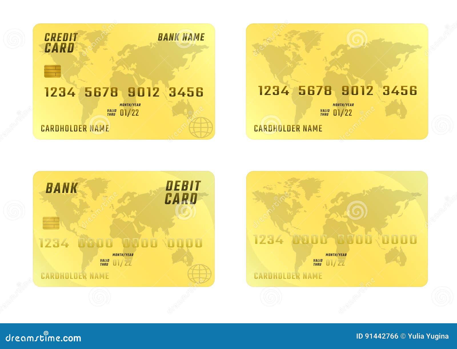 c951d083441 Cartão de crédito no fundo branco em quatro variações Cor dourada plástica  dos cartões de banco O lugar vertical