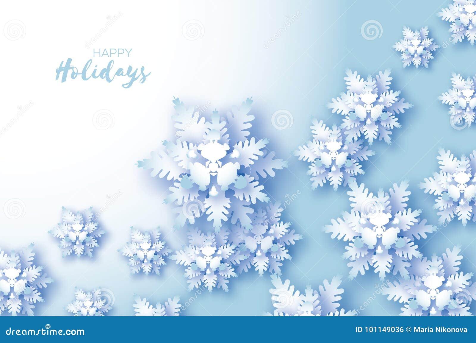 Cartão de cumprimentos azul do Feliz Natal Floco da neve do corte do Livro Branco Decoração do ano novo feliz Fundo dos flocos de