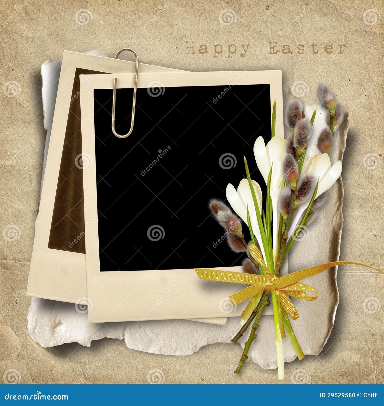 Cartão de Easter do vintage com polaroid-quadro e bichano-salgueiro