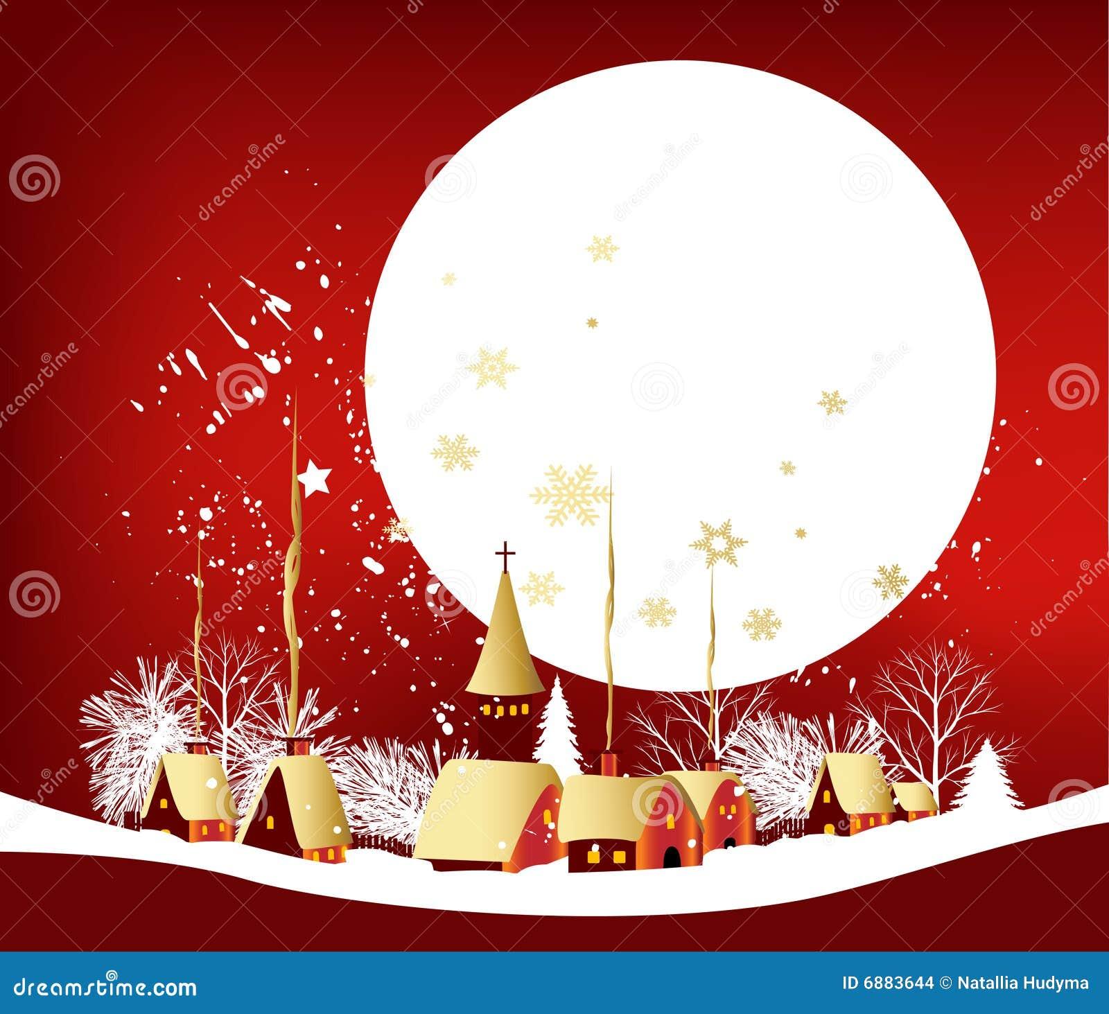 Cartão De Natal Ilustração Do Vetor Ilustração De Skyline 6883644