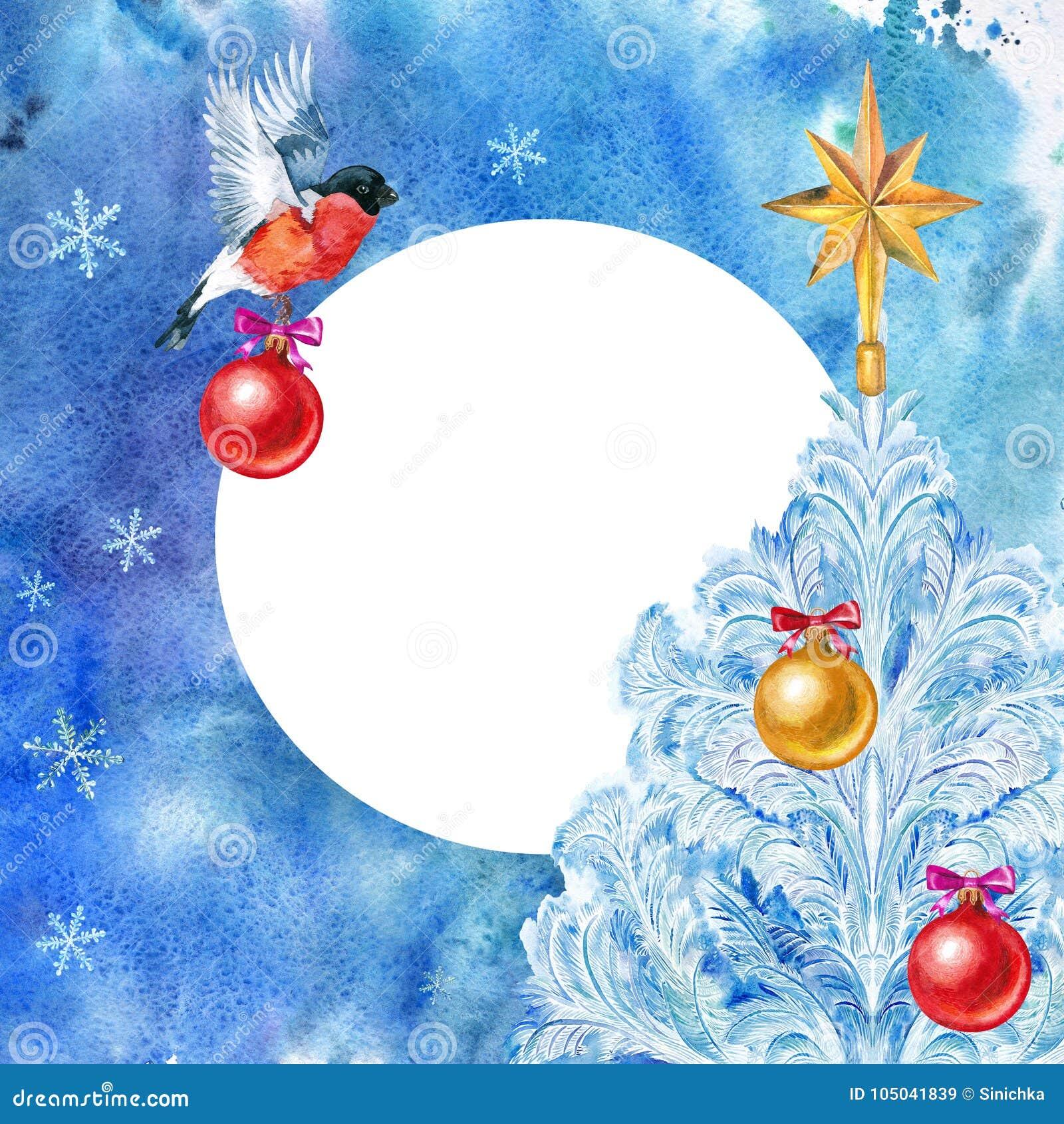 Cartão de Natal bullfinch Bola do Natal e árvore de Natal em um fundo azul