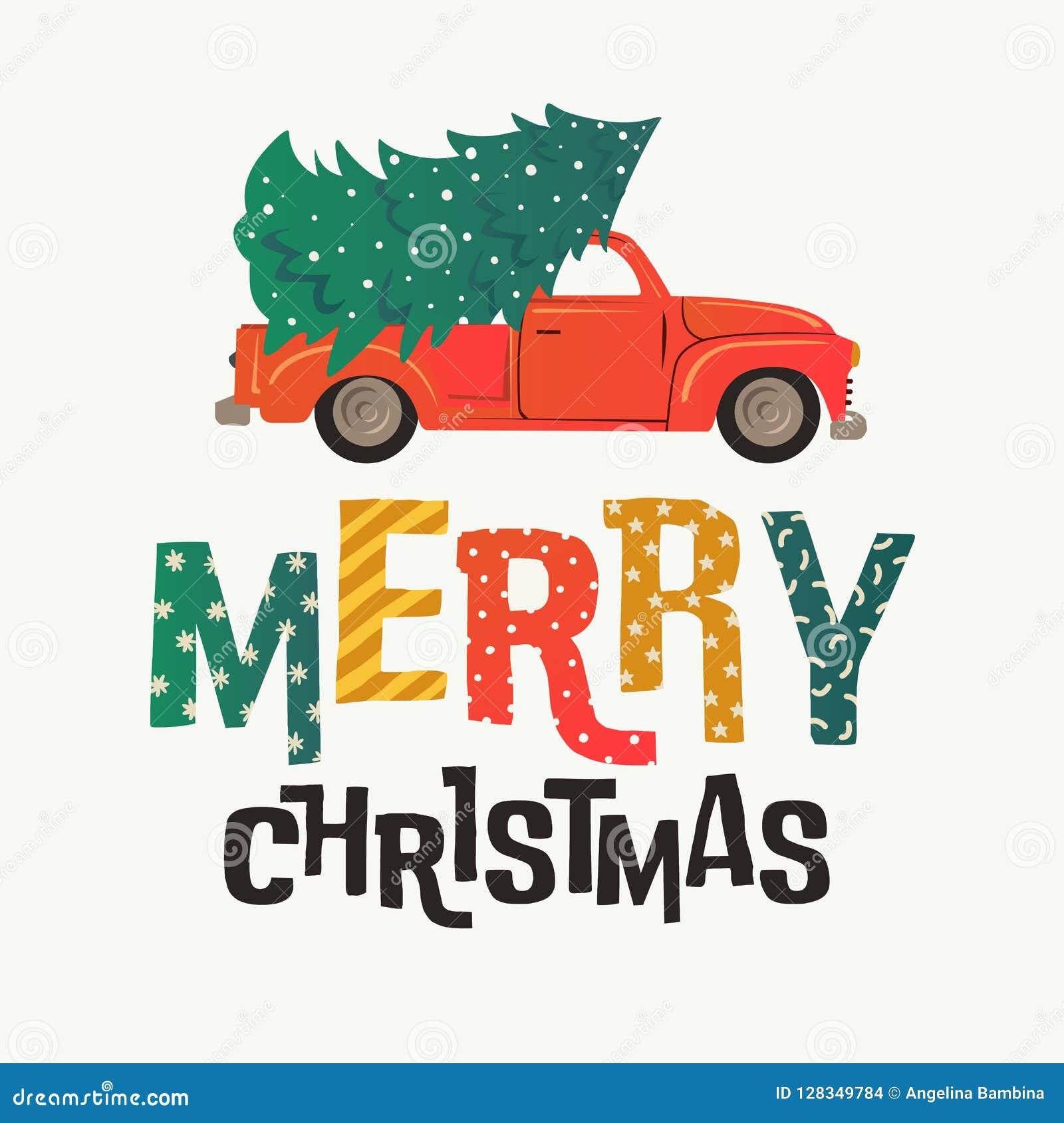 Cartão de Natal Caminhão retro vermelho com árvore e presentes de abeto Ilustração do vetor