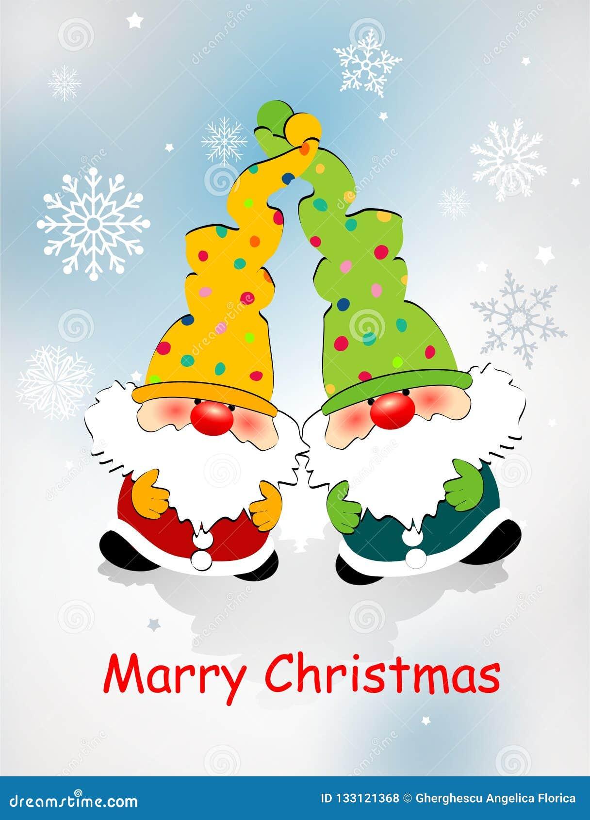 Cartão de Natal com anões do brinquedo, flocos de neve e o Natal de desejo de /Merry