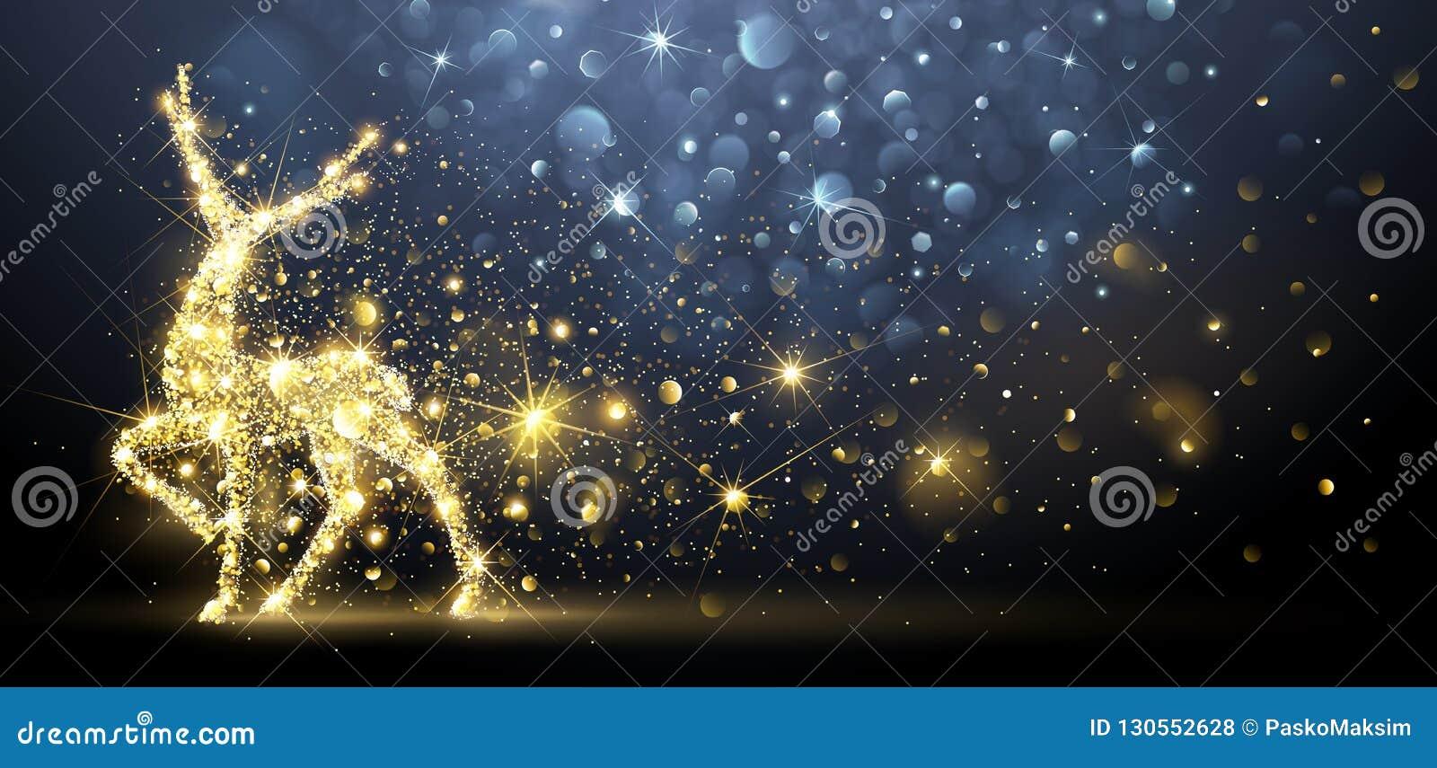 Cartão de Natal com cervos mágicos Ilustração do vetor